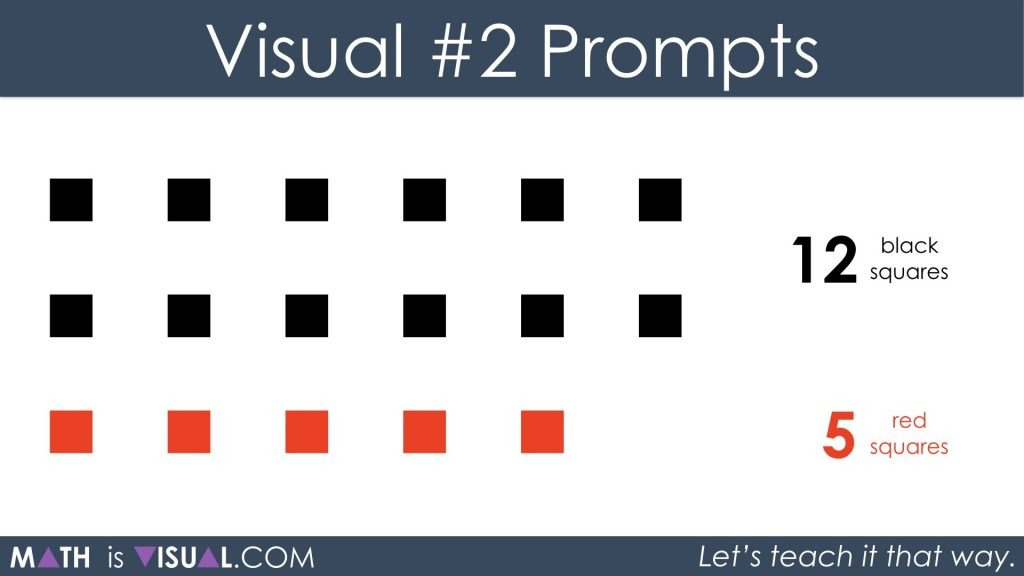 Adding Positive and Negative Integers Visual Prompts 2a - 12 black plus 5 red