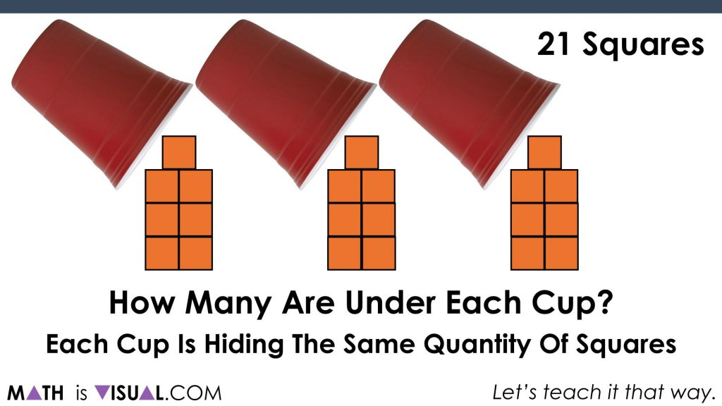 Solving One-Step Equations Visually.041 21 squares divided into 3 parts reveal