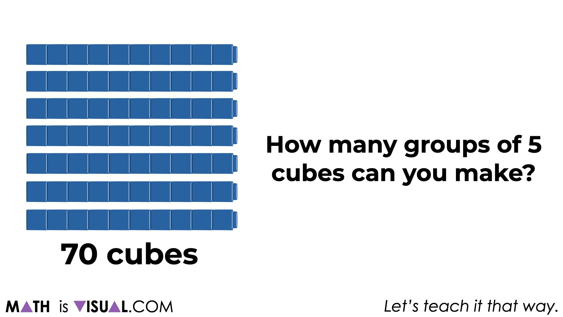how many groups of 5 cubes can you make with 70