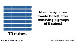 how many cubes would be left after removing 6 groups of 5 cubes